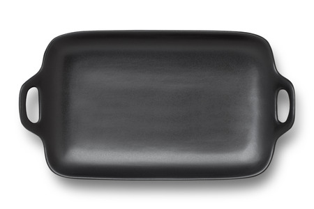 serving tray: Top view of quare black plate isolated on white background Stock Photo