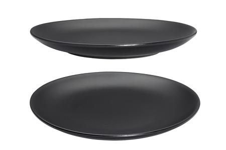 Black empty plate isolated on white background Stock Photo