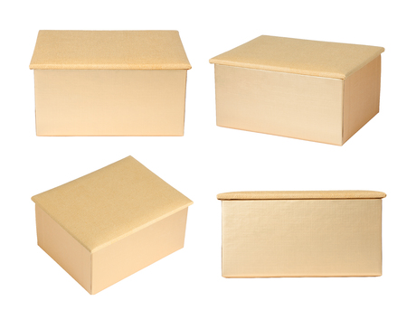 packaging box: Gold paper box isolated on white background Stock Photo