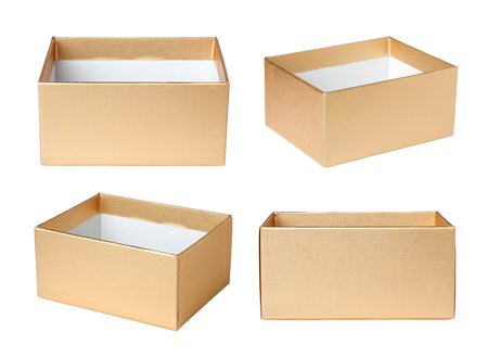 open box: Empty paper box isolated on white background