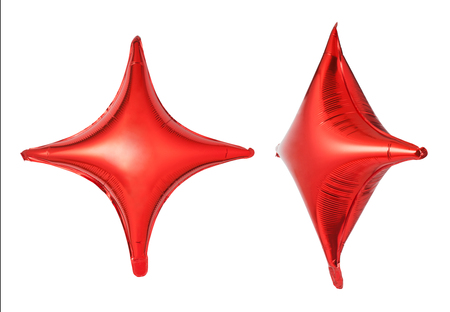 star shaped: Red star shaped balloon isolated on white background