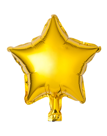 Golden star shaped balloon isolated on white background