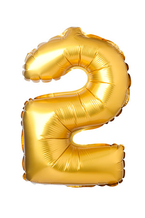 Number 2 of golden balloons isolated on a white background