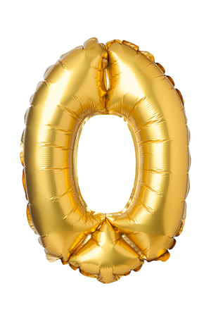 nombre d or: Number 0 of golden balloons isolated on a white background Banque d'images