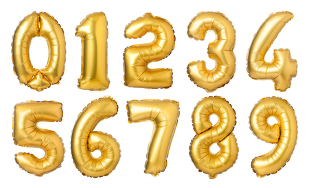 Golden numbers balloons isolated on white background Foto de archivo