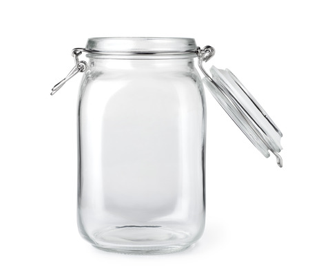 Opened empty glass jar isolated on a white background Foto de archivo