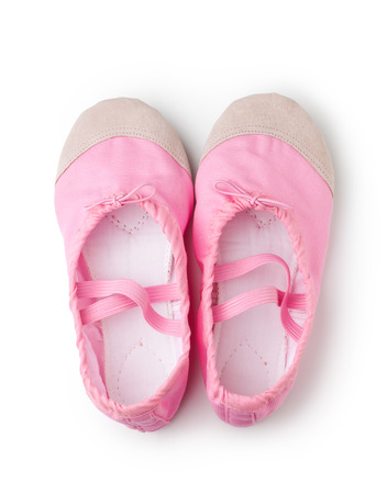 Pink dancing shoes isolated on white background