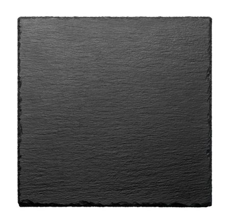 Black square stone plate isolated on white background Stock Photo