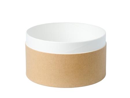 Empty round paper box isolated on white background Stock Photo