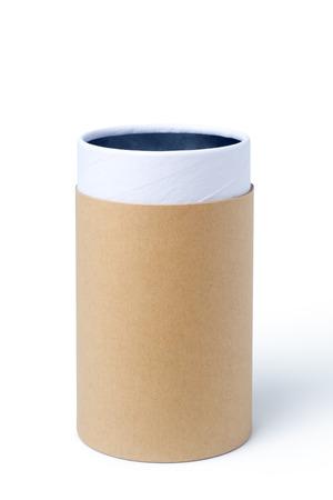 Empty paper tube isolated on white background Stock Photo