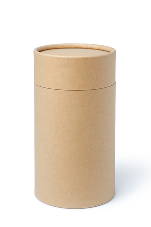 Brown paper tube isolated on white background Stock Photo