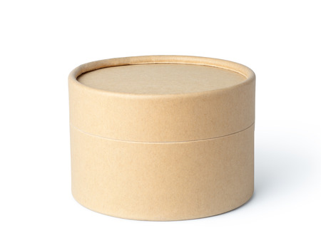 Round brown paper box isolated on white background Stock Photo