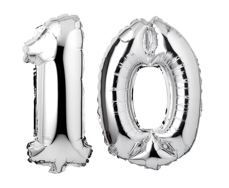 Number 10 of silver foil balloon isolated on a white background 스톡 콘텐츠