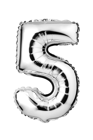 Number 5 of silver foil balloon isolated on a white background