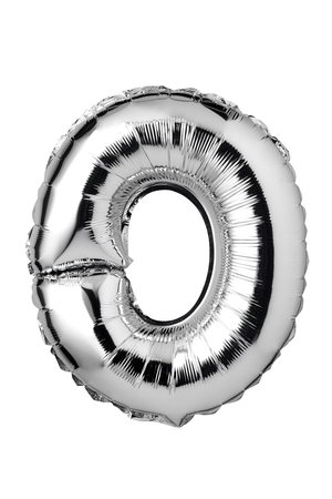 Letter O of silver balloon isolated on white background