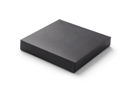 Black paper box isolated on white background Imagens