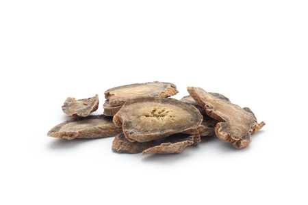 Sliced of Pseudo-ginseng on white background. Chinese herbal medicine.