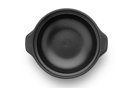 Empty black ceramic casserole isolated on white background. Top view.