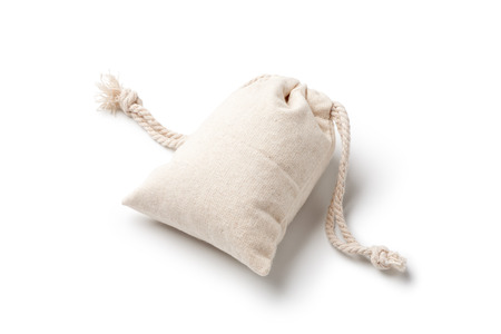 Empty linen bag isolated on white background. Stock Photo