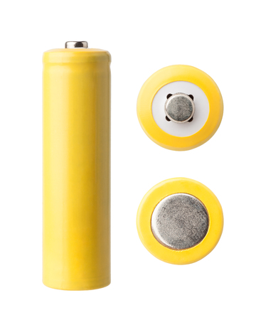 yellow AA battery isolated on white backgraound