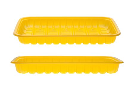 Yellow empty food trays isolated on white background.