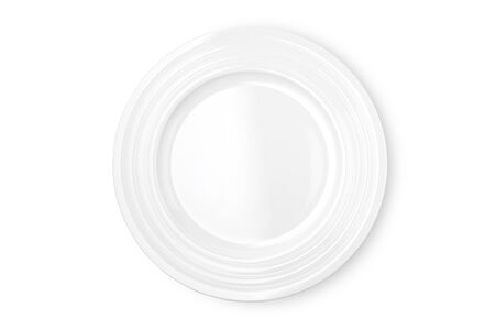 Empty white plate isolated on white background. Top view.