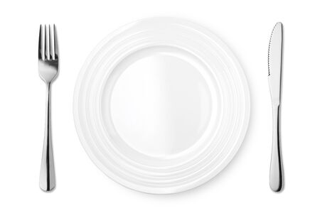 Empty plate with fork and knife isolated on white background. Top view.