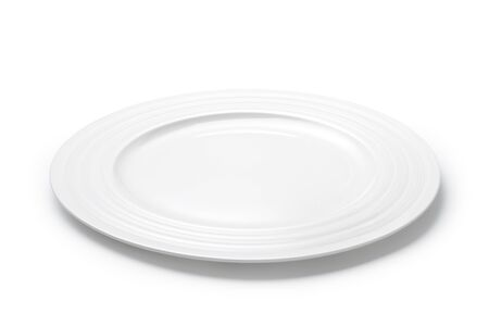 Empty white plate isolated on white background Imagens