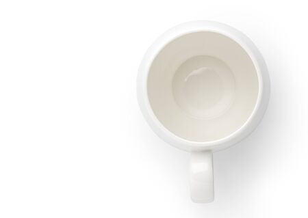 Empty ceramic cup isolated on white background, Top view.