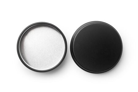 Top view of black metal jar isolated on white background.