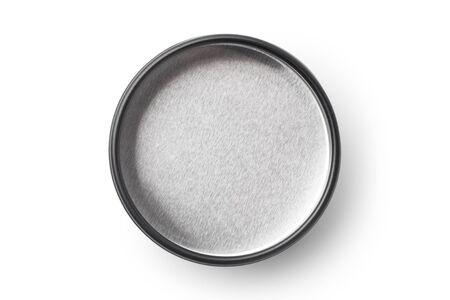 Empty black aluminum jar isolated on white background.