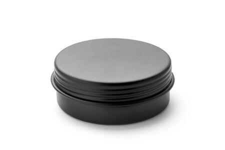 Black aluminum jar isolated on white background. Imagens