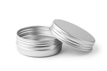 Metal jar container isolated on white background. Imagens