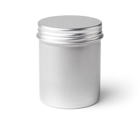 Round metal container isolated on white background. Imagens