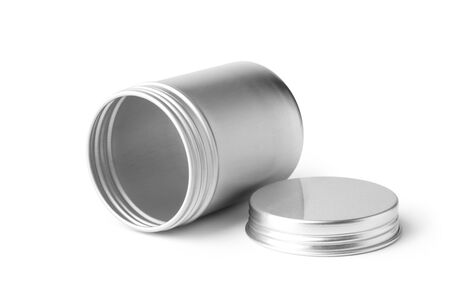 Empty metal container isolated on white background. Imagens