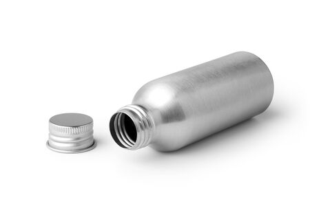 Empty metal bottle isolated on white background