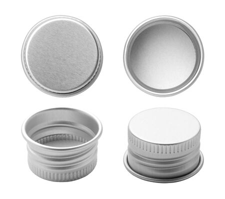 Metal bottle caps isolated on white background