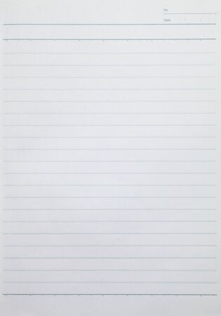 Blank lined sheet of paper from a notebook. Paper textur background. Imagens