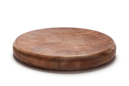 Ironwood chopping board isolated on a white background.
