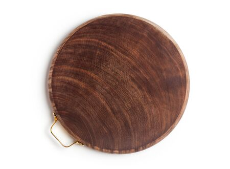 Ironwood chopping board isolated on a white background. Top view. Imagens