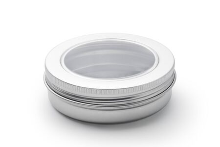 Silver aluminum jar isolated on white background. Container for cosmetic or food. Imagens