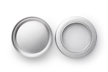 Top view of silver aluminum jar isolated on white background. Container for cosmetic or food.