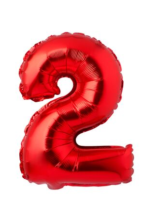 Number 2 of red foil balloon isolated on a white background