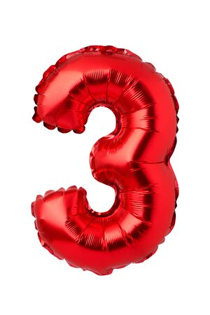 Number 3 of red foil balloon isolated on a white background
