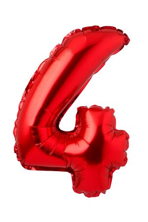 Number 4 of red foil balloon isolated on a white background