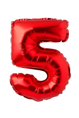 Number 5 of red foil balloon isolated on a white background
