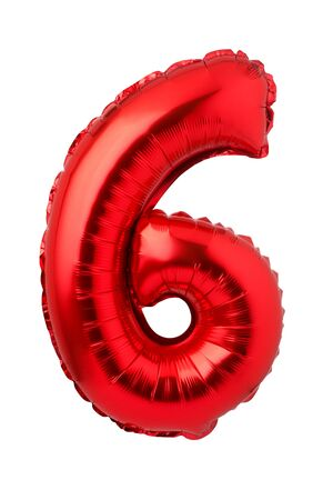 Number 6 of red foil balloon isolated on a white background