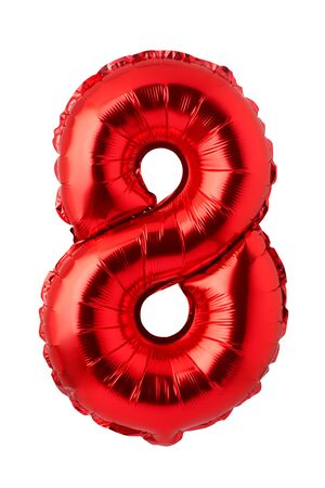 Number 8 of red foil balloon isolated on a white background Imagens