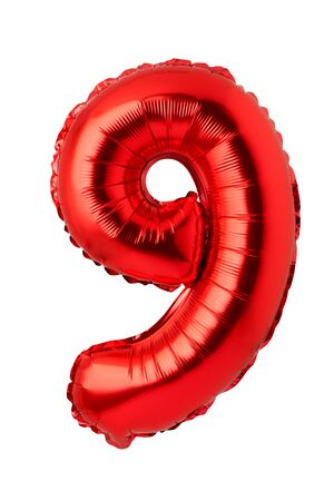 Number 9 of red foil balloon isolated on a white background
