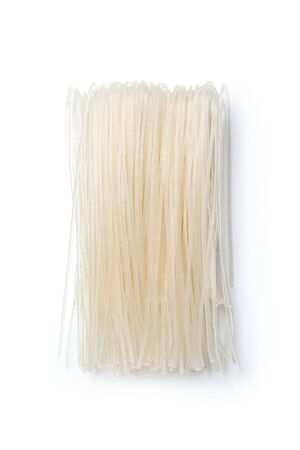 Dried rice noodles isolated on white background